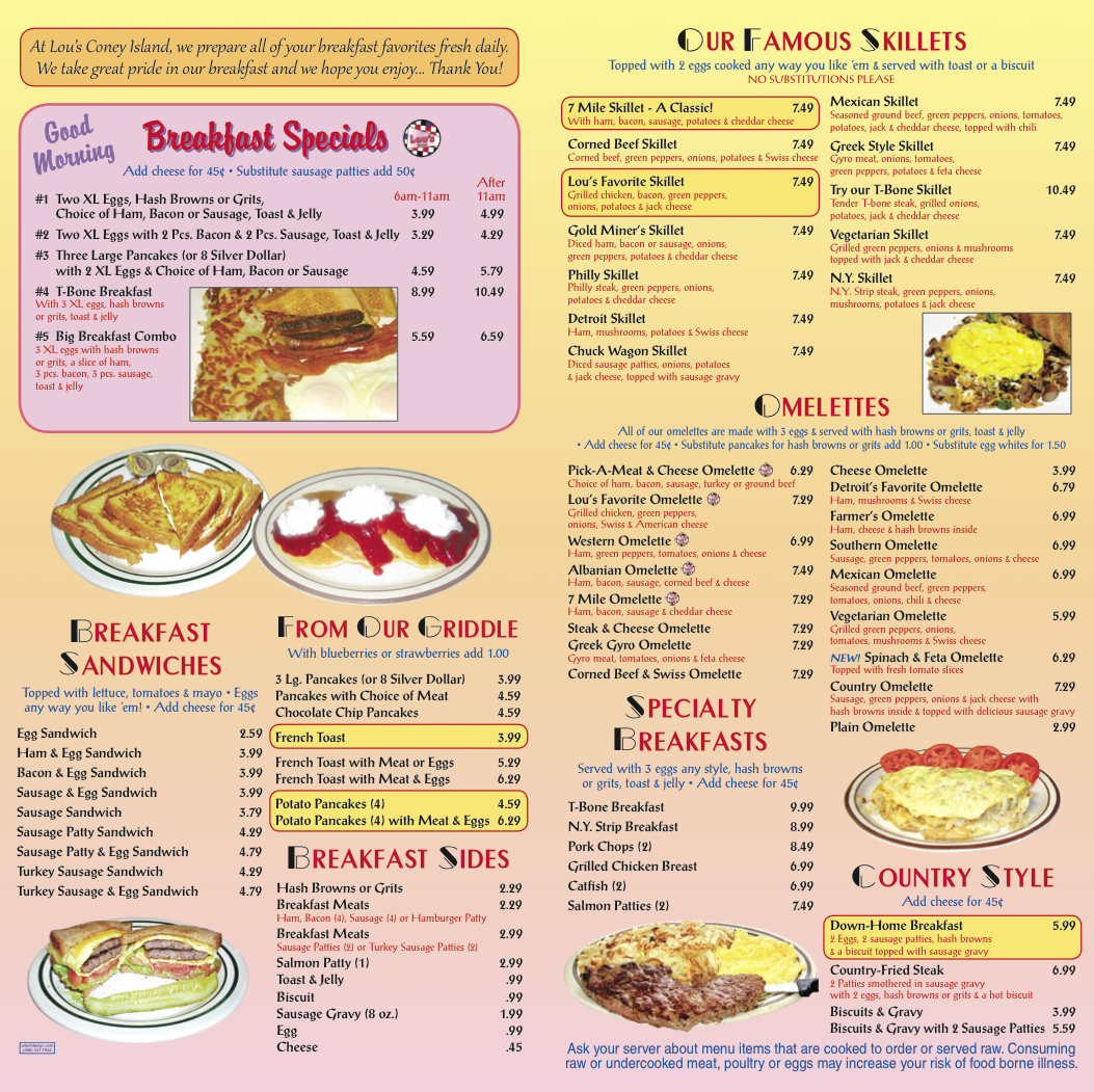 Detroit  Coney Island Menu